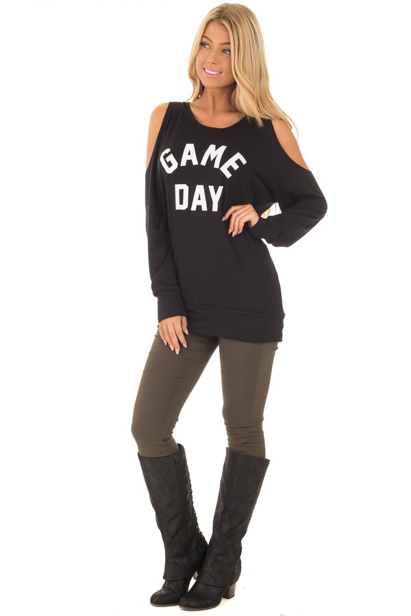 Black 'Game Day' Long Sleeve Cold Shoulder Top front full body