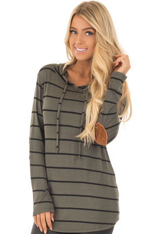 Olive Stripe Hoodie with Camel Faux Suede Elbow Patch closeup