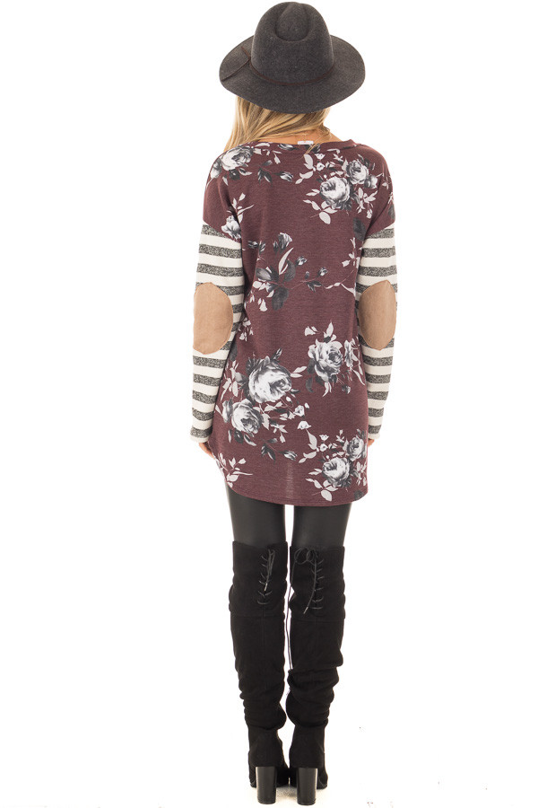 Burgundy Floral Top with Stripe Long Sleeve and Elbow Patch Detail back full body