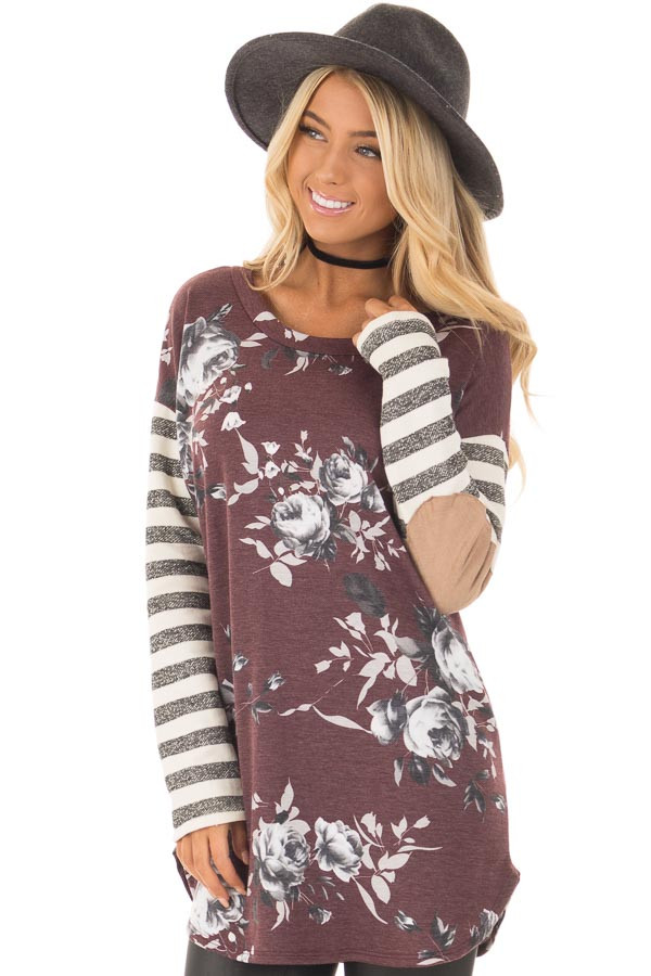 Burgundy Floral Top with Stripe Long Sleeve and Elbow Patch Detail closeup