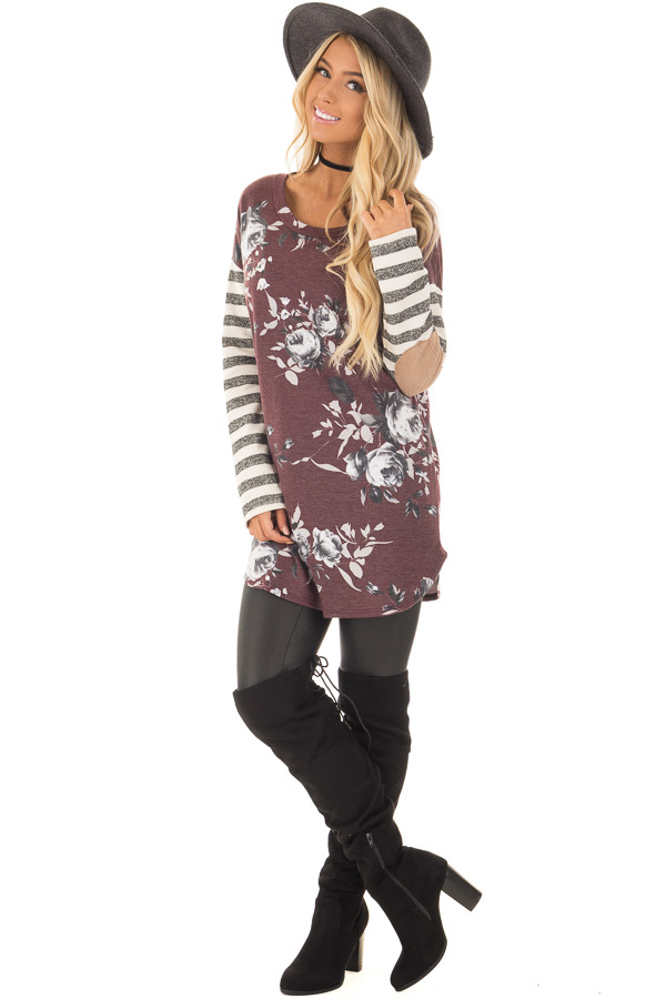 Burgundy Floral Top with Stripe Long Sleeve and Elbow Patch Detail front full body