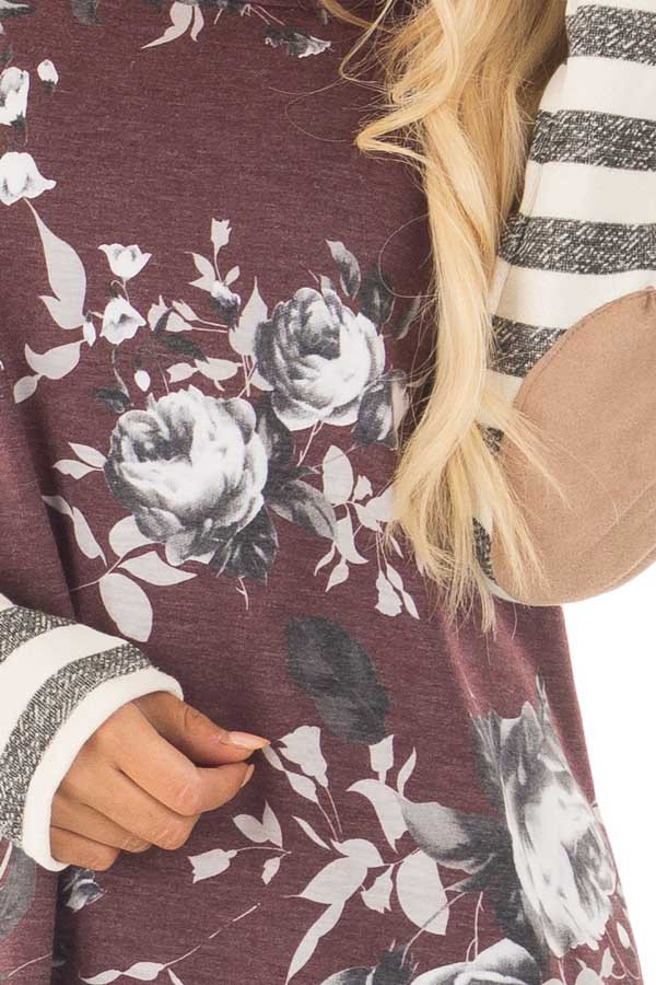 Burgundy Floral Top with Stripe Long Sleeve and Elbow Patch Detail front detail