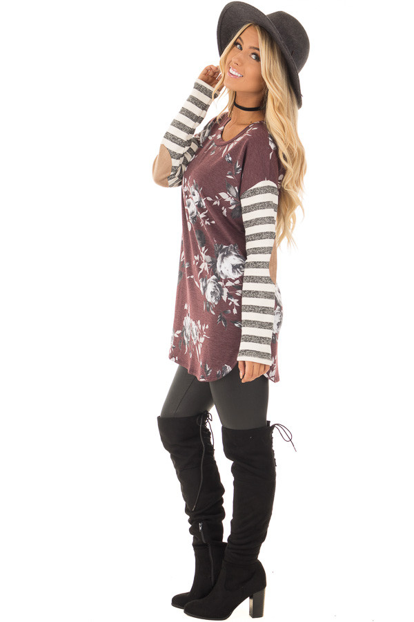 Burgundy Floral Top with Stripe Long Sleeve and Elbow Patch Detail side full body
