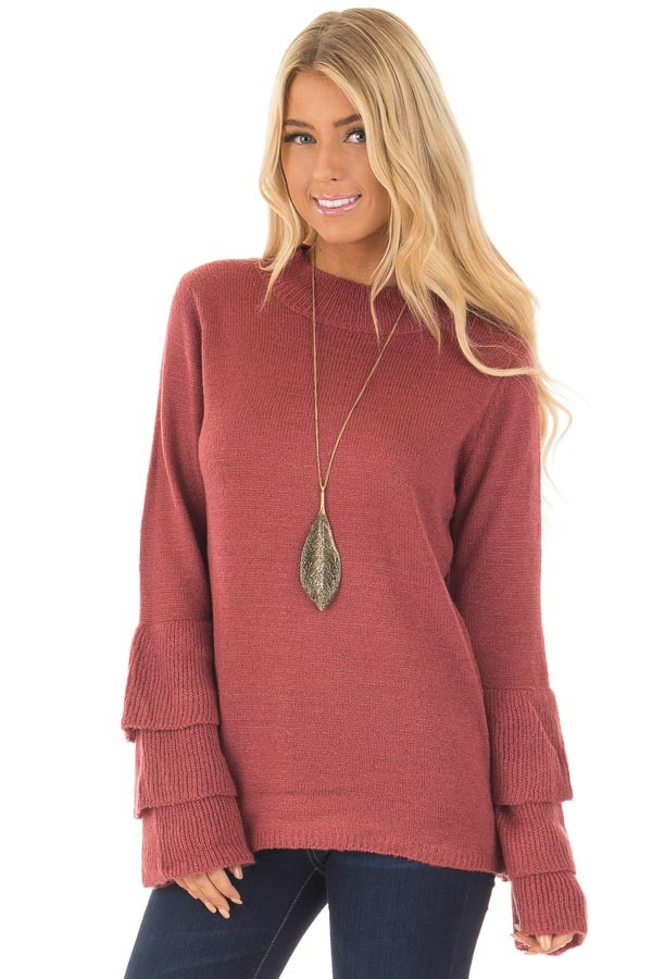 Berry Mock Neck Bell Sleeve Sweater front close up