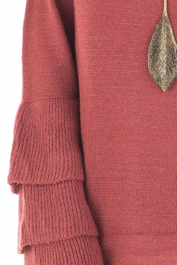 Berry Mock Neck Bell Sleeve Sweater detail