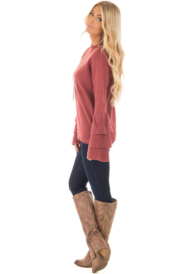 Berry Mock Neck Bell Sleeve Sweater side full body