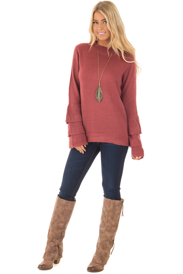 Berry Mock Neck Bell Sleeve Sweater front full body