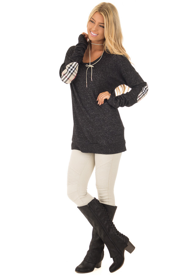Black Soft Two Tone Long Sleeve Top with Plaid Elbow Patches front full body