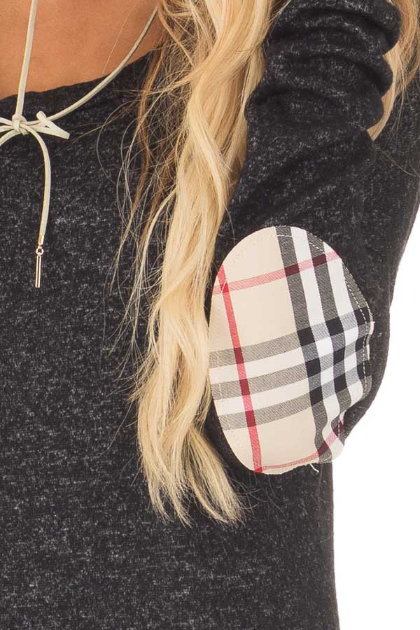 Black Soft Two Tone Long Sleeve Top with Plaid Elbow Patches detail