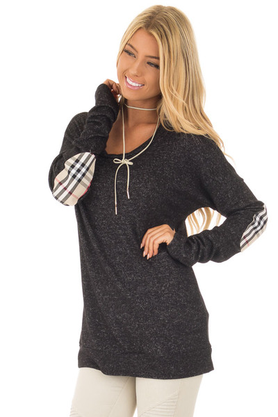 Black Soft Two Tone Long Sleeve Top with Plaid Elbow Patches front close up
