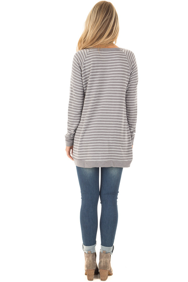 Charcoal Striped Long Sleeve Top back full body