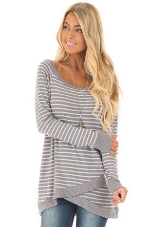 Charcoal Striped Long Sleeve Top front close up