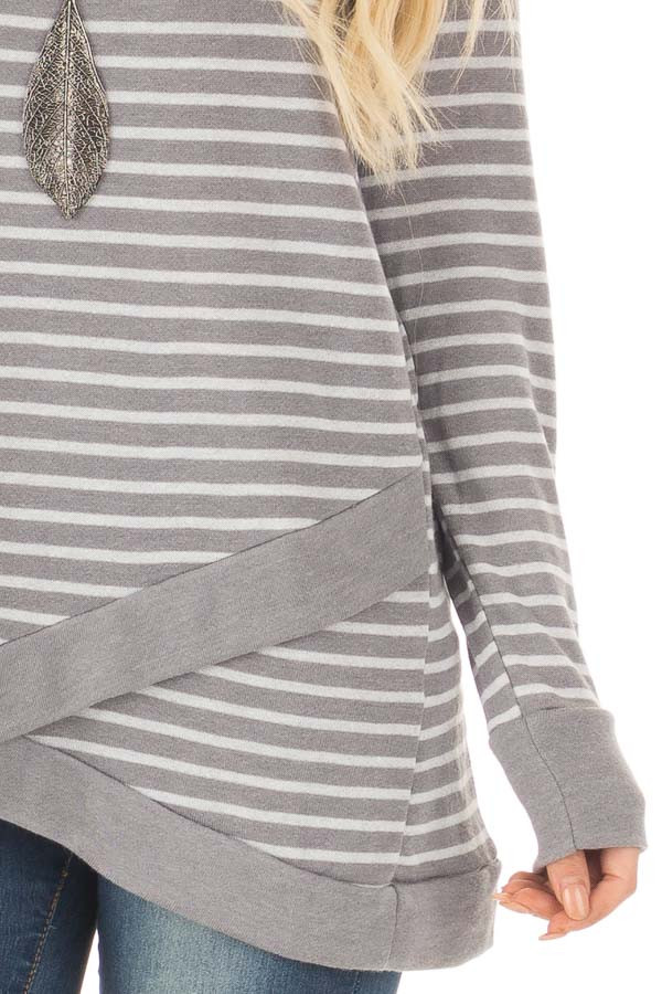 Charcoal Striped Long Sleeve Top detail