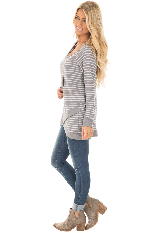 Charcoal Striped Long Sleeve Top side full body