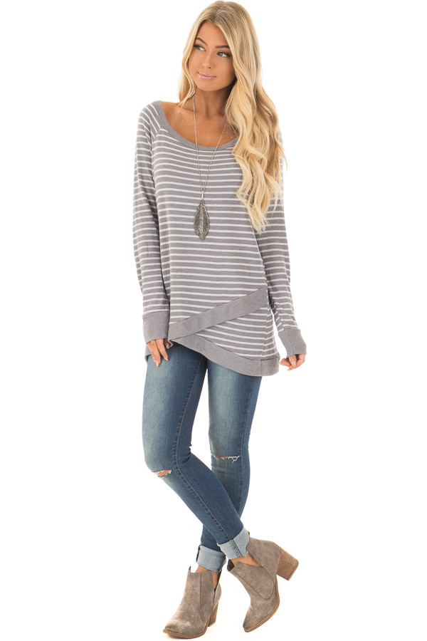 Charcoal Striped Long Sleeve Top front full body
