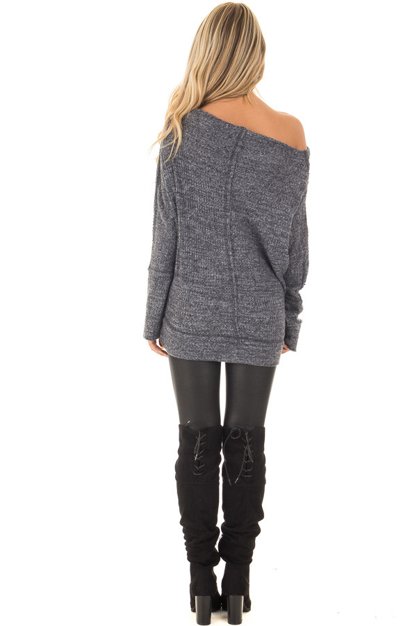 Charcoal Two Tone Off the Shoulder Long Sleeve Top back full body