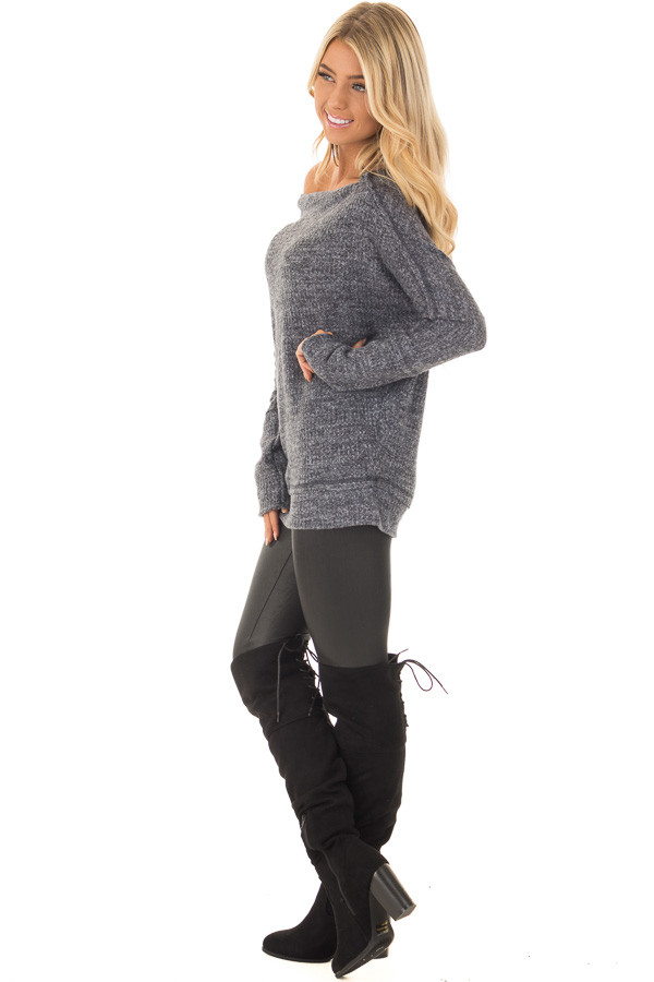 Charcoal Two Tone Off the Shoulder Long Sleeve Top side full body
