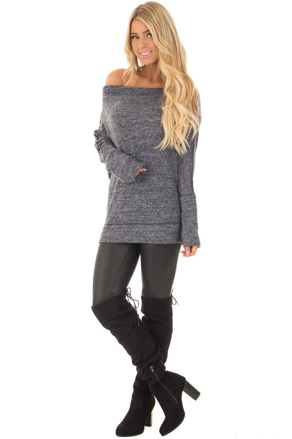 Charcoal Two Tone Off the Shoulder Long Sleeve Top front full body