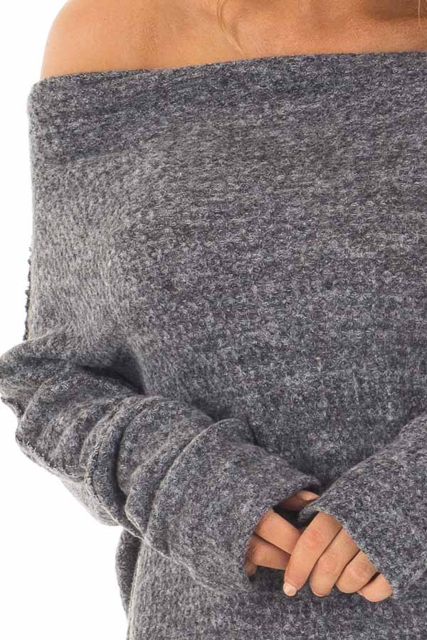 Charcoal Two Tone Off the Shoulder Long Sleeve Top detail