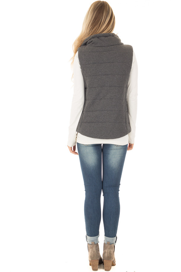 Charcoal Hidden Zipper Vest with Side Pockets back full body