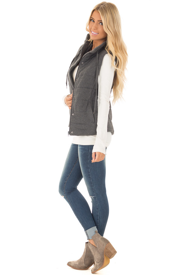 Charcoal Hidden Zipper Vest with Side Pockets side full body