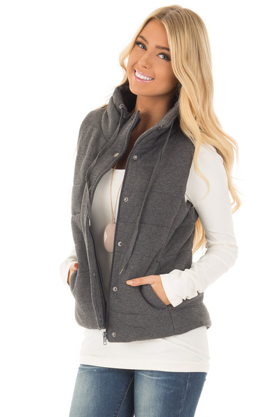 Charcoal Hidden Zipper Vest with Side Pockets front close up