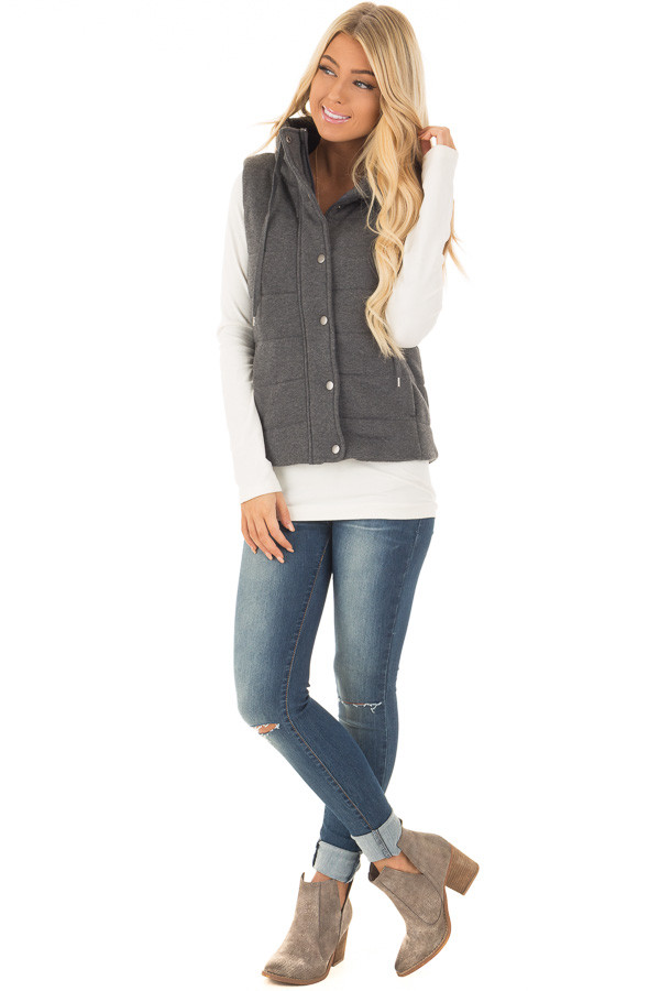 Charcoal Hidden Zipper Vest with Side Pockets front full body