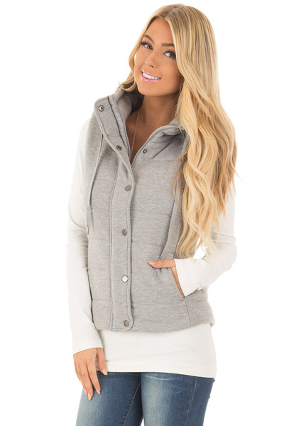 Heather Grey Hidden Zipper Vest with Side Pockets front close up