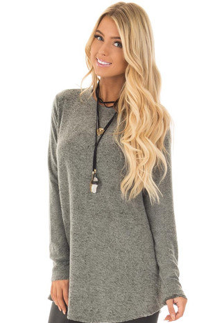 Olive Soft Loose Fit Long Sleeve Top with Side Pockets front close up