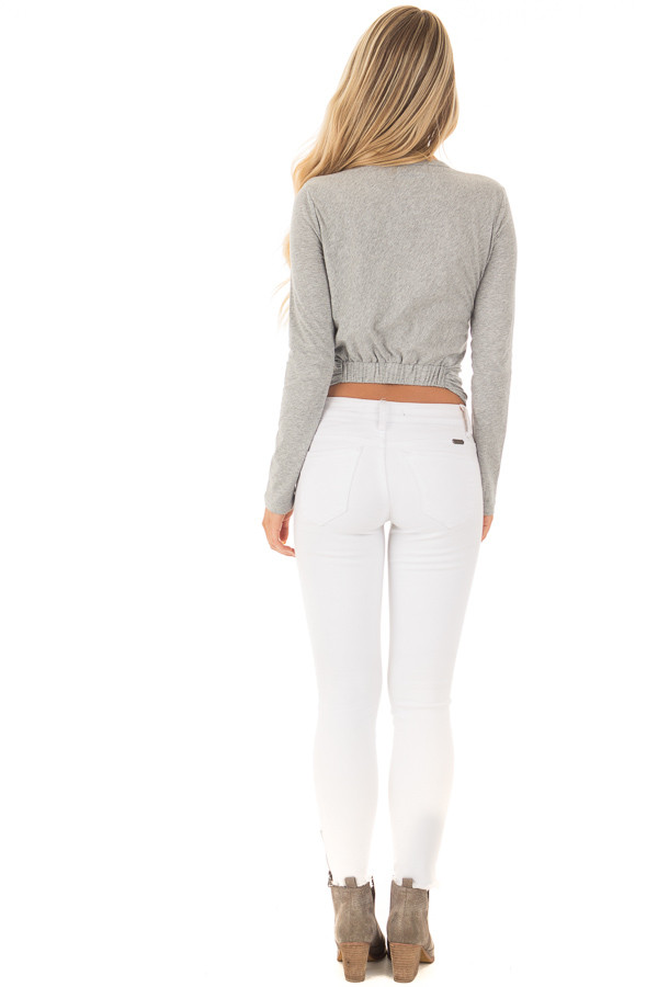 Heather Grey Long Sleeve Top with Front Tie back full body