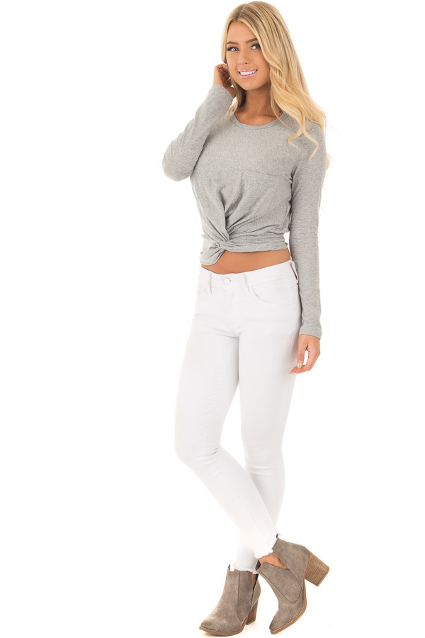 Heather Grey Long Sleeve Top with Front Tie front full body