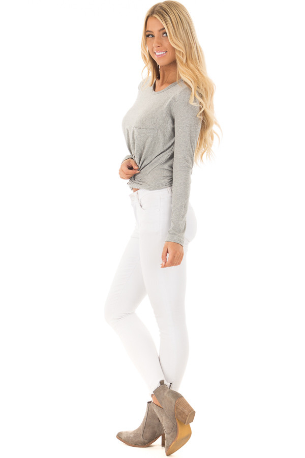 Heather Grey Long Sleeve Top with Front Tie side full body