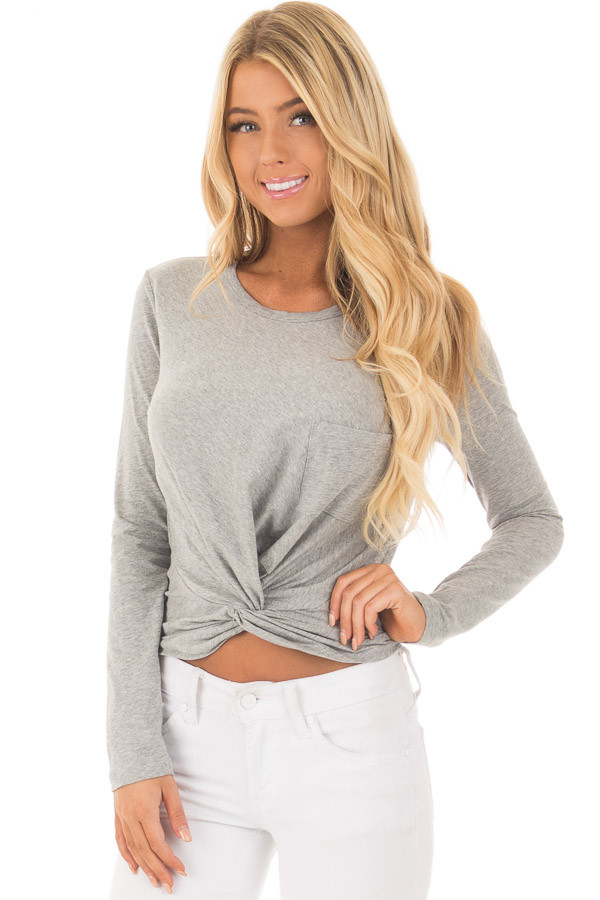 Heather Grey Long Sleeve Top with Front Tie front close up