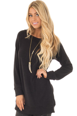 Black Off the Shoulder Soft Knit Tunic front close up