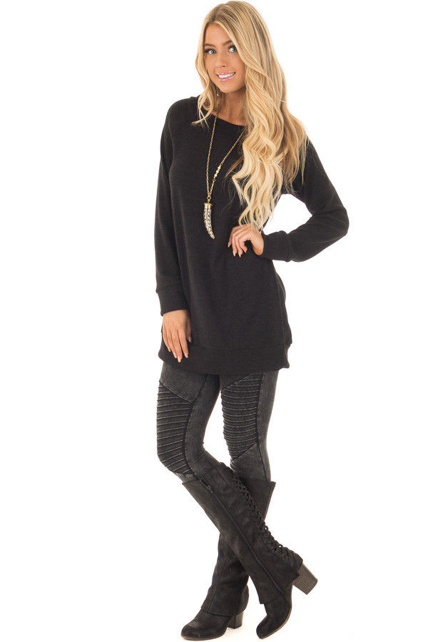 Black Off the Shoulder Soft Knit Tunic front full body