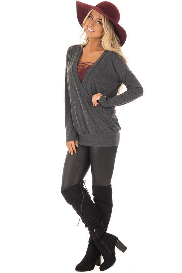 Charcoal Surplice Knit Top with Ribbed Contrast front full body