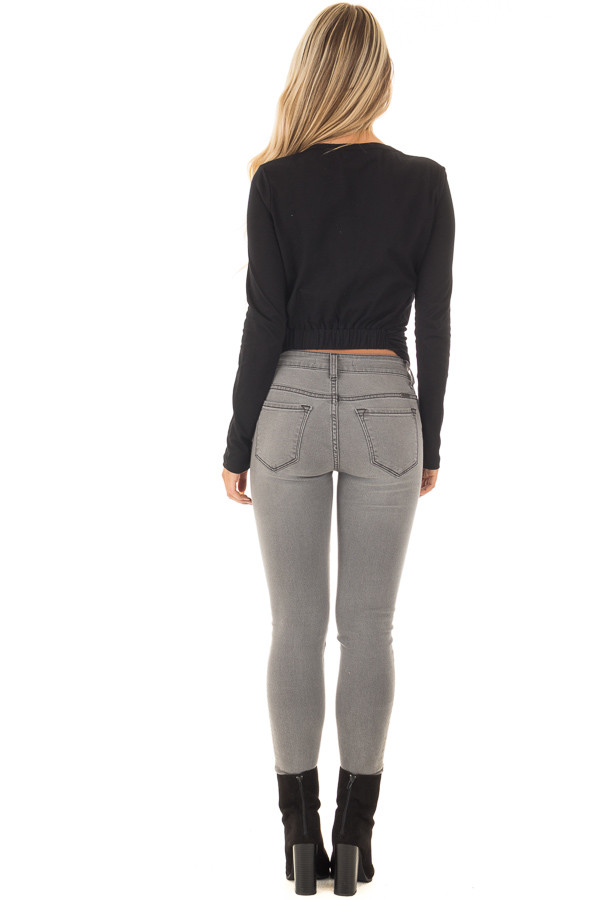 Black Long Sleeve Top with Front Tie back full body