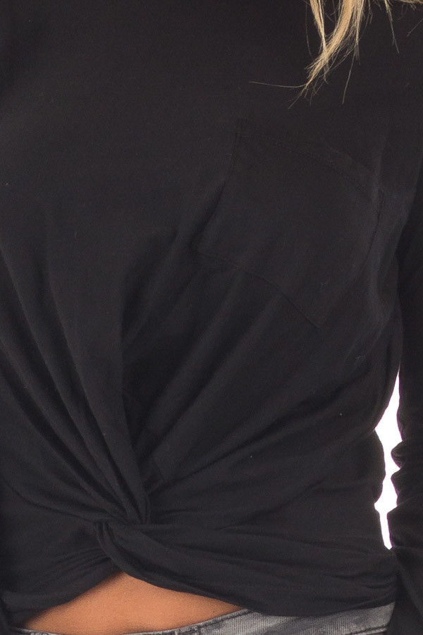 Black Long Sleeve Top with Front Tie detail
