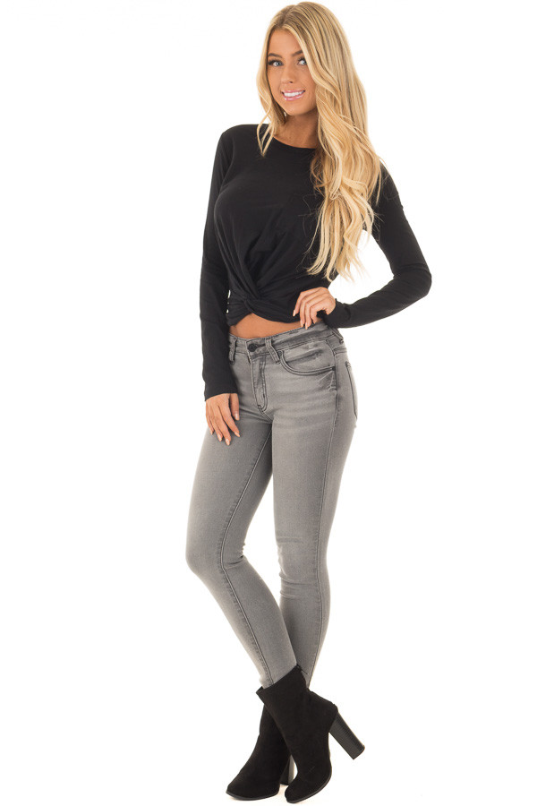 Black Long Sleeve Top with Front Tie front full body