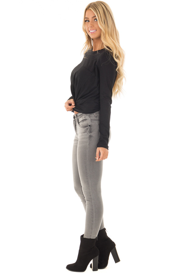 Black Long Sleeve Top with Front Tie side full body