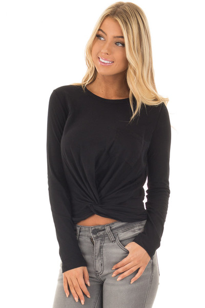 Black Long Sleeve Top with Front Tie front close up