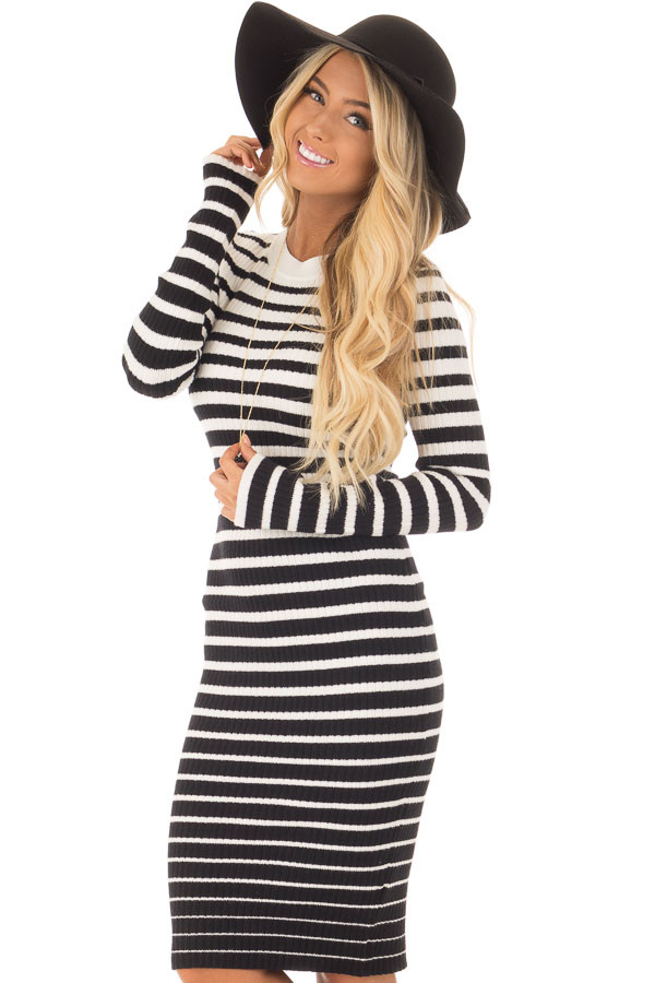 Black and White Striped Bodycon Dress front close up