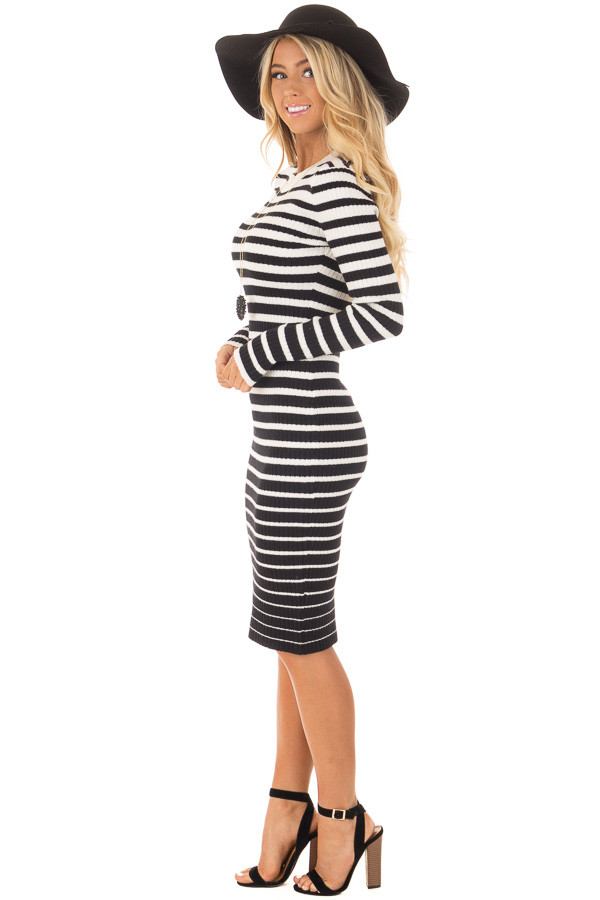 Black and White Striped Bodycon Dress side full body