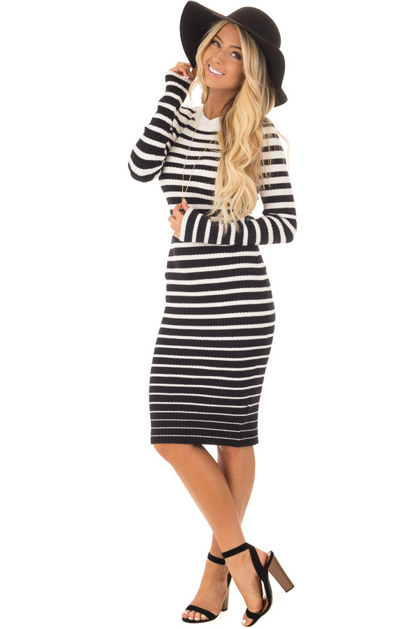 Black and White Striped Bodycon Dress front full body