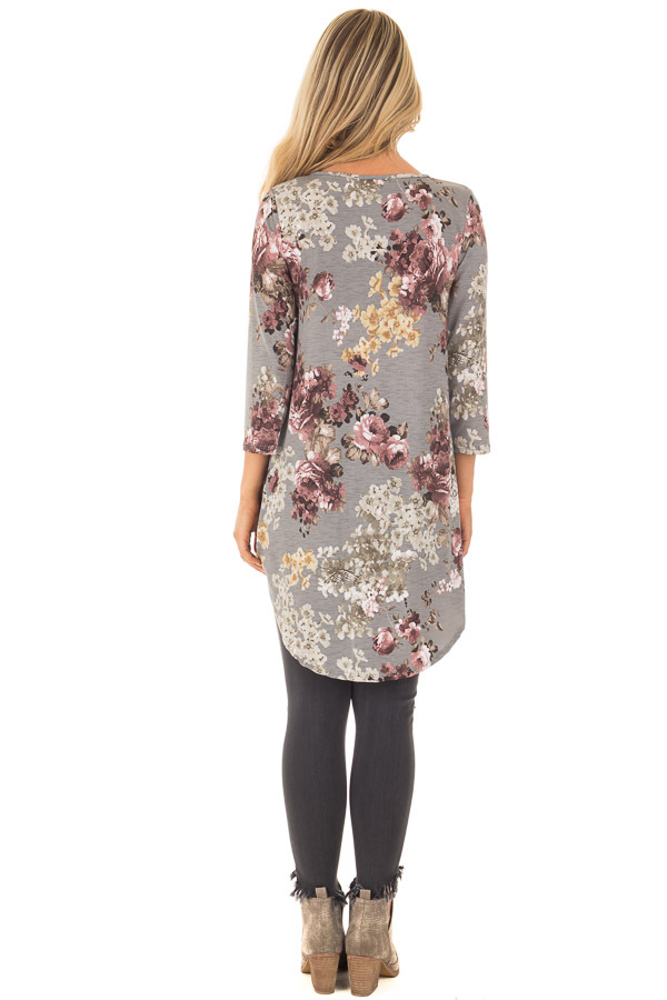 Charcoal Floral Print Long Sleeve Tunic Top back full body