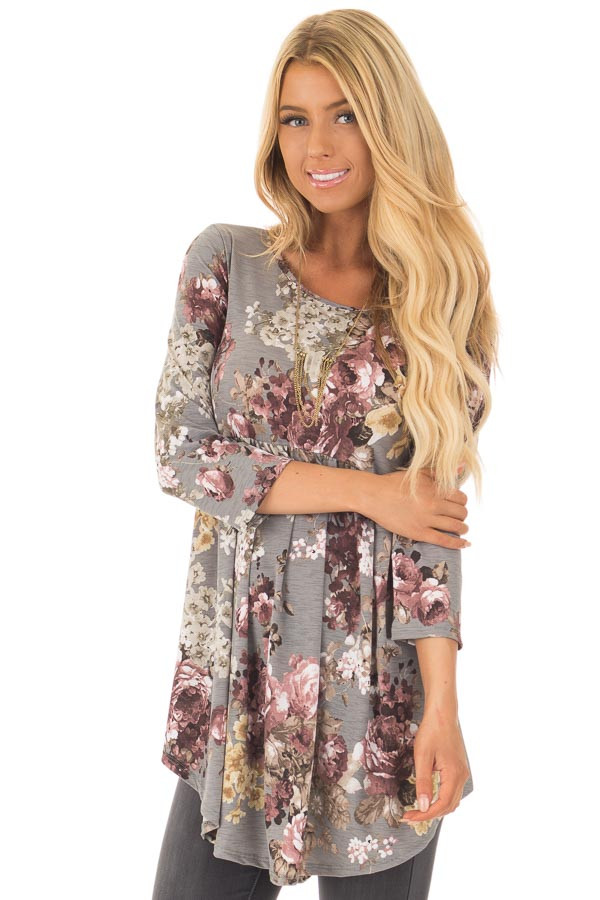 Charcoal Floral Print Long Sleeve Tunic Top front close up