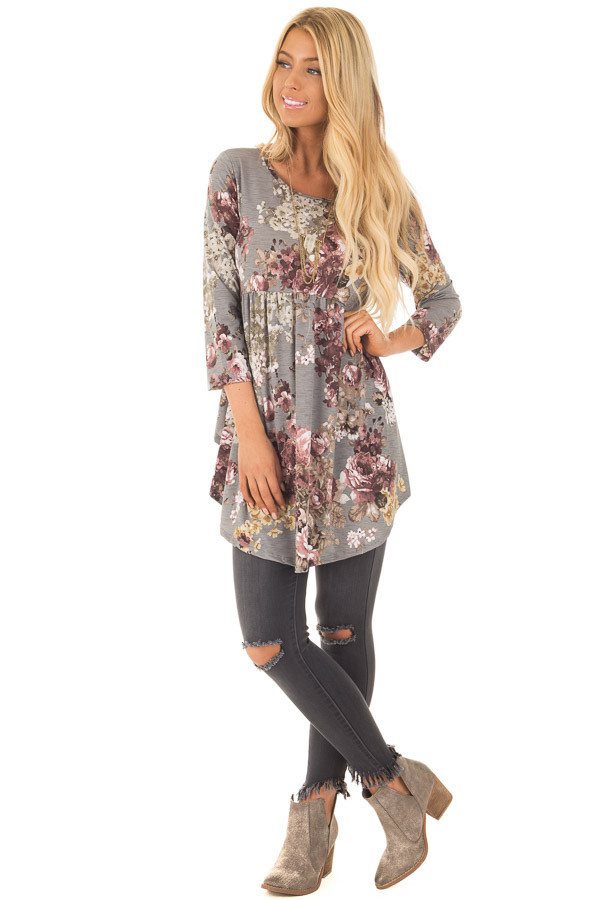 Charcoal Floral Print Long Sleeve Tunic Top front full body