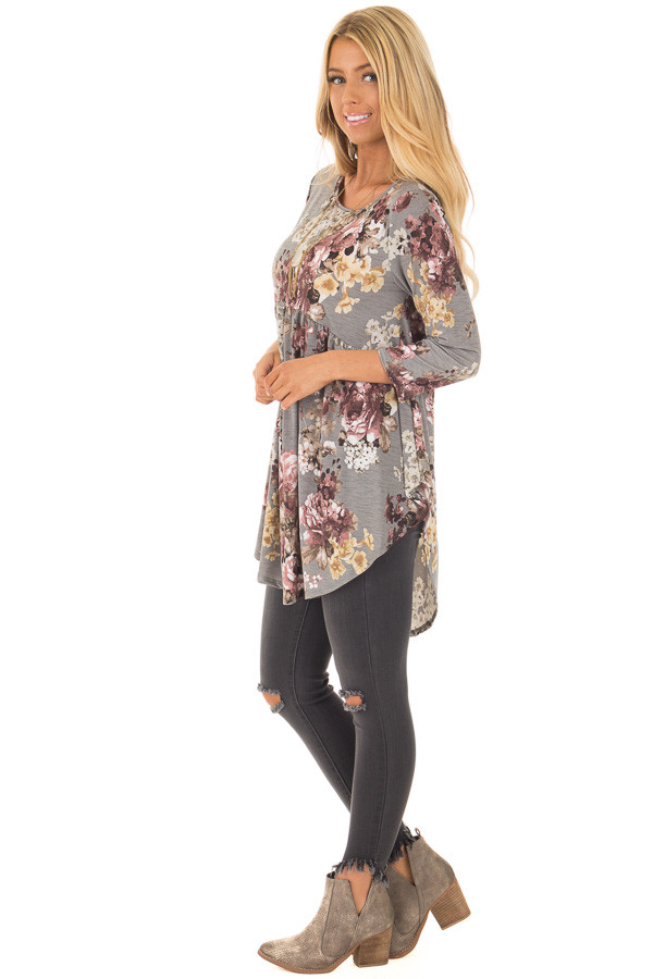 Charcoal Floral Print Long Sleeve Tunic Top side full body