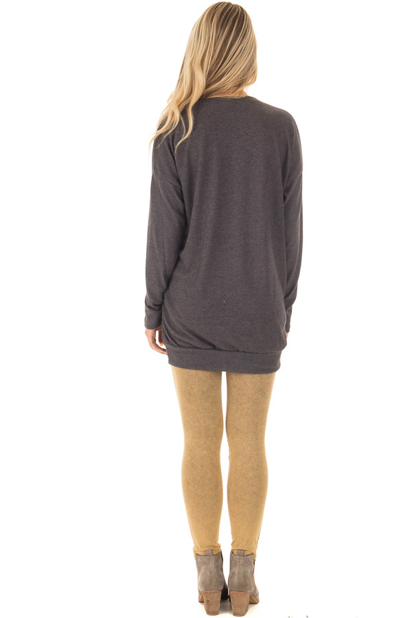 Charcoal Long Sleeve Knit Tunic Top back full body