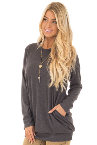 Charcoal Long Sleeve Knit Tunic Top front close up